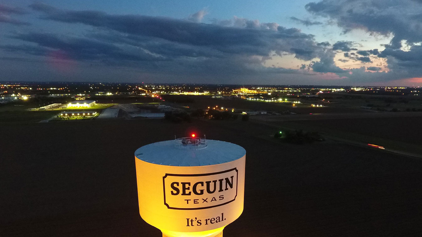 Seguin skyline at sunset